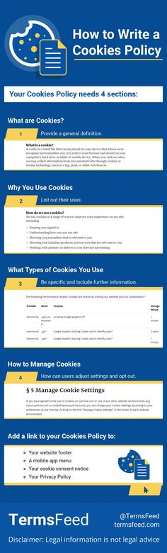 Writing a Cookies Policy doesn't have to be difficult. It can help you comply with laws, and help your customers feel secure using your website. We'll show you step by step what to do. What Is Cookies, What Type, Cookies Policy, Names, Wellness, Writing, Website, Feelings, Being A Writer