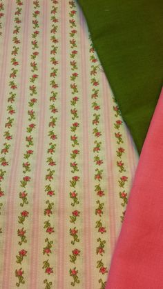Tiny pink floral stripes w/ green & pink solids.