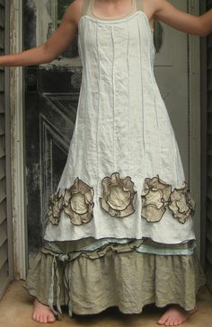 Light Blue Linen Flower Bottom Dress by sarahclemensclothing, $169.00 on Etsy. Can order a custom made smaller size.