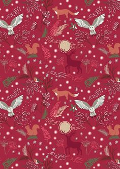 Winter Animals on Red, A Countryside Winter, Owls Foxes Deer Squirrels Woodland Critters, Fabric by Lewis & Irene, Quilting Cotton Woodland Critters, Woodland Creatures, Woodland Animals, Christmas Aprons, Christmas Fabric, Xmas, Dancing Daisy, Dark Red Background, Blog Backgrounds