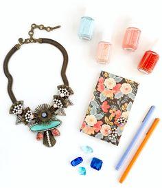spring color palette // loren hope ariel necklace, essie nail polish, rifle paper co.