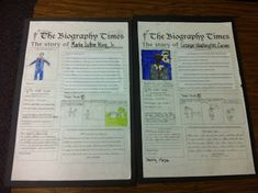 Biography Newspaper Project!! I've always done something like this, I like this version better. This teacher has her entire unit plus the standards based grading rubric on herTPT store for FREE.