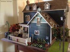 Fabulous house by Kathleen Holmes I like the corner play. If more than one kid was playing, there would be room Vitrine Miniature, Miniature Rooms, Miniature Houses, Victorian Dollhouse, Dollhouse Dolls, Dollhouse Miniatures, Modern Dollhouse, Barbie Furniture, Dollhouse Furniture