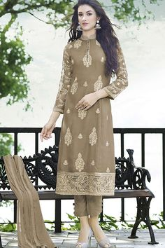 Beige Georgette Embroidered Straight Semi Stitched Suit