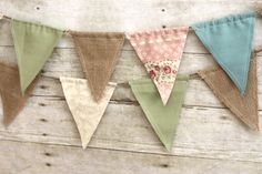 Vintage Double-Sided Fabric Burlap Twine Bunting Flag by house129