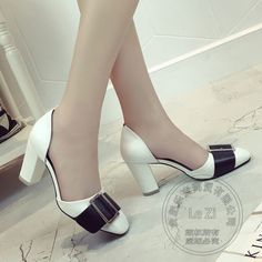 56.77$  Buy here  - Pointy Buckle Strap Pig Leather Fashion Shoes Woman New Multi Colored Korean Side Hollow D'orsay Two-piece Single Shoes