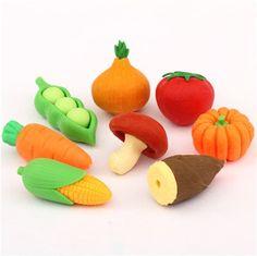 Set de 8 gomas de borrar, de Iwako, con forma de verduras - Frutas / Verduras - Gomas de borrar - Papelería - tienda kawaii modesS4u