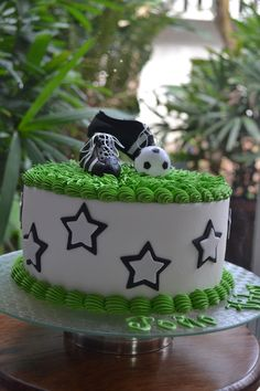 Soccer Cake Soccer Birthday Cakes, Soccer Cake, Soccer Party, 8th Birthday, Soccer Treats, Sport Cakes, Occasion Cakes, Cupcake Cookies, Cake Art