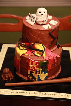 chocolate Harry Potter birthday cake by cakeboxgirls, via Flickr