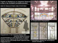 Glas-Architektur mit Farbglas-Inszenierungen
