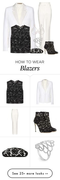 """White Lace"" by vero1307 on Polyvore featuring Victoria Beckham, Dolce&Gabbana, Yves Saint Laurent, Chanel and Joëlle Jewellery"