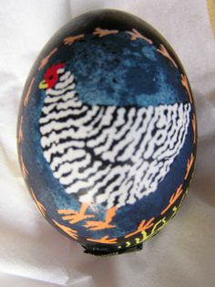 Pysanka egg with a cute chicken. We carry a full line of pysanki supplies.