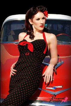 Pinup Fashion: This dress is adorable - I love the black halter with red polka dots and bow. The car is a great background. Perfect combination!