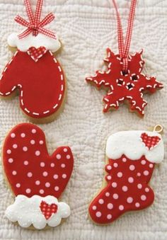 red & white cookies - Country Christmas Decorate with red christmas.