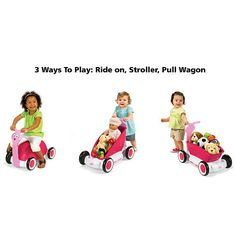 The Radio Flyer 3-in-1 Walker Wagon is great! It is a 3-in-1 toy that will keep your child busy for hours. The Radio Flyer 3-in-1 Walker Wagon is a push walker ride-on and pull wagon all in one! It easily converts from one mode to another. It also has free rolling wheels and a large removable storage bucket.
