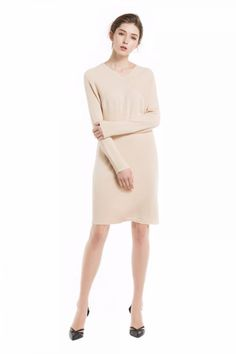 Knitbest Women's V Neck Raglan Long Sleeve Splice Sweater Dress Knit Sweater Dress, Knitwear, Dresses For Work, V Neck, Knitting, Long Sleeve, Sleeves, Sweaters, Clothes