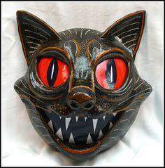 Handmade OOAK Vintage Styled Halloween Black Cat Wall Mask Luminare Lantern