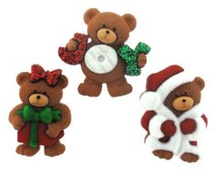 Xristmas Teddy Bears Plastic Buttons/ Sewing by Universalideas