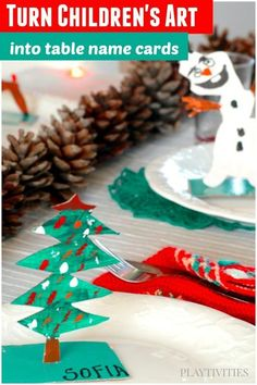 HOLIDAY CRAFTS FOR KIDS INTO TABLE NAME CARDS I am a huge fan of displaying kid's art everywhere. I love seeing art and crafts of my children all over the house. So here it is – a fresh new Christmas Dinner Table design, inspired and made from your children's art! #ChildrenArt #ArtForKids #ArtIdeasForKids #ChristmasNameCards #ChristmasIdeasForKids #ChristmasCraftKidsCanMake #ActivitiesForFamily #ActivitiesForKids Christmas Activities For Families, Art Activities For Kids, Art For Kids, Family Activities, Party Activities, 4 Kids, Christmas Names, Kids Christmas, Homemade Christmas
