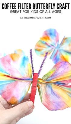 Coffee Filter Butterfly - This kids craft is easy to make with markers, clothespins, and water! It's fun for kids of all ages and pairs well with the Very Hungry Caterpillar book! basteln, Coffee Filter Butterfly Craft is Perfect for Kids of All Ages! Spring Crafts For Kids, Diy Crafts For Kids, Projects For Kids, Fun Crafts, Craft Ideas, Art Projects, Paper Crafts, Crafts With Toddlers, Wood Crafts