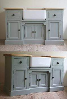 Belfast style sinks are the perfect country kitchen sink - complimented perfectly by a stony grey sink base and wooden handles. http://www.john-willies.com/kitchens/freestanding_sinkbases.php