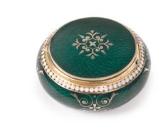 A Russian Gilded Silver and Enamel Pill Box, Grachev Brothers, St. Petersburg, circa 1895   lot Sotheby's