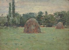 """""""Two Haystacks,"""" Theodore Robinson, oil on panel, x private collection. Theodore Robinson, Global Art, Art Market, Painters, Artist, Auction, France, Oil, American"""