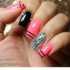 Rayas Long Nails, My Nails, Nails Inspiration, Pretty Nails, Hair Makeup, Nail Designs, Hair Beauty, Make Up, Nail Art