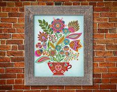 Botanical Floral Teacup Bouquet Art Print Folk Style | Etsy