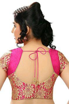 Floral Brocade Party-Wear Pink Sari &)f TV hf Blouse Back Neck Designs, New Saree Blouse Designs, Blouse Designs Catalogue, Simple Blouse Designs, Stylish Blouse Design, Bridal Blouse Designs, Blouse Neck, Latest Blouse Designs, Choli Blouse Design