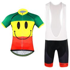 Men's Smiley Short Sleeve Cycling Jersey Set #Cycling #CyclingGear #CyclingJersey #CyclingJerseySet