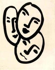 Matisse, Henri; Aquatint, unsigned, Trois Tetes, 3 Faces, 14 inch.