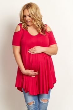 Fuchsia-Open-Shoulder-Plus-Size-Tunic