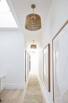 Andy and Deb have transformed House 3 on The Block 2019 into a contemporary coastal chic abode. Take the grand tour. Andy and Deb have transformed House 3 on The Block 2019 into a contemporary coastal chic abode. Take the grand tour. Flur Design, Diy Design, Hallway Lighting, Hallway Lamp, Entrance Lighting, Hallway Runner, Hallway Decorating, Minimalist Home, Interior Inspiration
