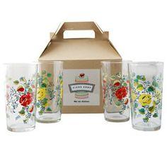 Sweet Tea Glasses Gift Box of 4: love the flower design