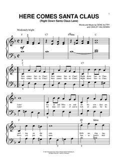 I can use the sheet music for a craft idea-Here Comes Santa Claus Lyrics Sheet Music Crafts, Sheet Music Art, Digital Sheet Music, Vintage Sheet Music, Music Sheets, Christmas Piano Sheet Music, Christmas Lyrics, Christmas Music, Xmas Music
