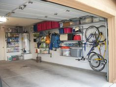 Garage Storage Systems for Neat and Tidy Garage : Mountain Bicycles White Wall Red Boxes Garage Storage Systems Ideas