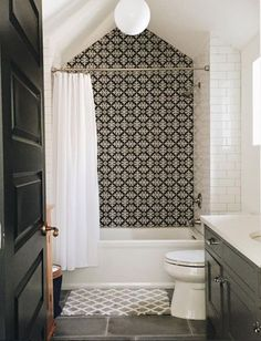 Bathroom design ideas tile, cement tile, subway tile, black and white
