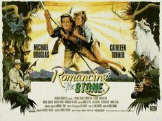 Romancing the Stone - UK Quad - An adventure comedy film directed by Robert Zemeckis and starring Michael Douglas, Kathleen Turner and Danny DeVito 80s Movies, Great Movies, Movies To Watch, I Movie, Comedy Movies, Action Movie Poster, Best Movie Posters, Action Movies, Film Posters