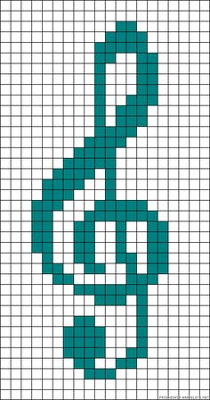 G cleft crafts Cross Stitch Music, Cross Stitch Bookmarks, Cross Stitch Cards, Cross Stitching, Cross Stitch Embroidery, Kawaii Cross Stitch, Embroidery Patterns, Graph Paper Drawings, Graph Paper Art