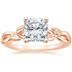 Rose Gold Engagement ring - leaves are delicate and lovely. Not entirely sure about the square cut.