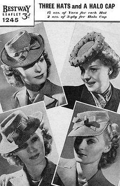 Knitting Pattern 1940s Hats Halo Hat vintage wartime