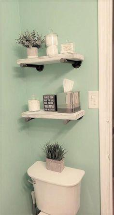 #NewBathroomDesigns White Floating Shelves, Solid Wood Shelves, Cheap Bathrooms, Small Bathrooms, Master Bathrooms, Marble Bathrooms, Luxurious Bathrooms, Master Baths, Decorative Storage