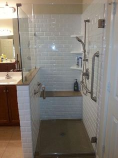 Another underused tub remade into a spacious walk-in shower! This is a classic s… – 2019 - Shower Diy <br> Another underused tub remade into a spacious walk-in shower! This is a classic subway tiled shower c Small Shower Remodel, Diy Bathroom Remodel, Bathroom Renos, Bath Remodel, Bathroom Interior, Remodled Bathrooms, Budget Bathroom, Interior Paint, Bathroom Ideas