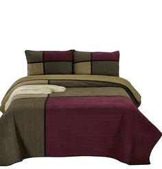 Chezmoi Collection Montana 3-Piece Brown Burgundy Black Microsuede Patchwork Channel Quilt Set, King -- Be sure to check out this awesome product. (This is an affiliate link)