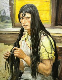 Gypsy plaiting her hair 1940 - Dame Laura Knight