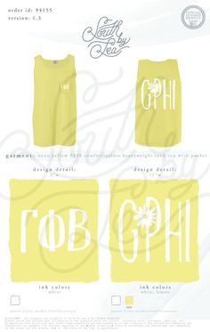 Gamma Phi Beta | GPhi | Gamma Phi Beta Tank Tops | Cute Gamma Phi Beta Designs | Yellow Gamma Phi Tank | South by Sea | Sorority Shirts | Sorority Tanks | Greek Shirts