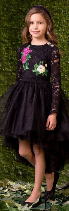 ON SALE !!! Love this LOVE MADE LOVE Girls Black Lace Party Dress. Perfect Dress to Dance in with a fabulous fifties feel and full, gathered tulle skirt that is longer at the back than the front. Love the sparkling, decorativebuttons on one shoulder and rose embroidery on the lace body. Perfect Party Dress for any Special Occasion or Holiday Event.    #kidsfashion #girl #party #sale #lovemadelove #fashion #pretty