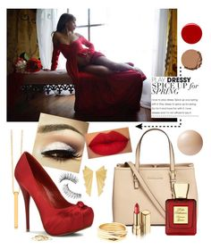 """""""Glamour mama - Red Sweetheart Style Maxi by Sew Trendy"""" by sewtrendy ❤ liked on Polyvore featuring Gorjana, Michael Kors, Ileana Makri, Repossi, Minor Obsessions, Dolce&Gabbana, Bella Bellissima, Pleaser Day & Night, Victoria's Secret and Urban Decay"""