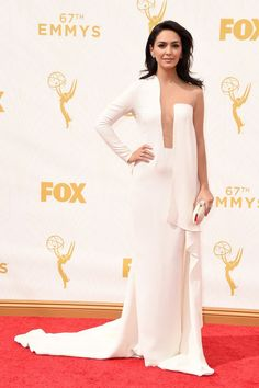 Nazanin Boniadi with a Swarovski clutch at the 2015 Emmys. See what all the stars wore to the ceremony.